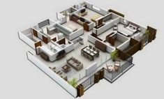 3 Bed House Plans - √ 16 3 Bed House Plans , Simple 3 Bedroom House Plans without Garage Small Modern House Plans, 3d House Plans, Home Design Floor Plans, Small House Design, Plan Design, Design Ideas, Three Bedroom House, Bedroom House Plans, Apartment Floor Plans