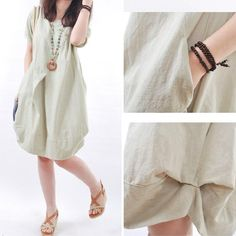 eee53f28a A perfect summer dress! Light and cool cotton linen blend fabric with a  classic look