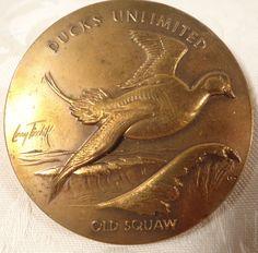 "1990 Convention Larry Toschik Artist Bronze Medallion Ducks Unlimited ""Old Squaw"