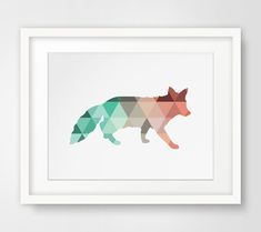 Fox Print Fox Wall Art Mint and Coral Fox von MelindaWoodDesigns