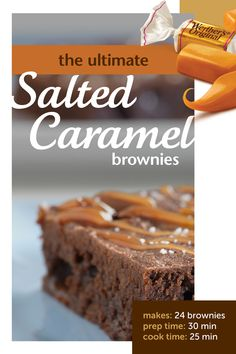 The BEST brownies ever! This recipe for salted caramel brownies is chewy, soft, homemade, and the perfect balance of sweet and savory. Made with chewy caramel and ready in just 1 hour! Caramel Recipes, Candy Recipes, Brownie Recipes, Sweet Recipes, Baking Recipes, Cookie Recipes, Dessert Recipes, Bar Recipes, Recipies