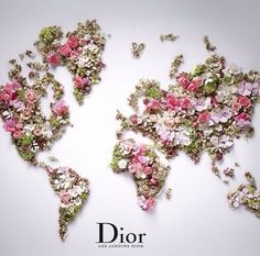 World Map by DIOR. From a beautiful press-release about Les Jardins de Dior, received Apr Floral Vintage, Deco Floral, Arte Floral, Floral Design, Map Design, Floral Wall, Design Ideas, Graphic Design, Perfume Floral