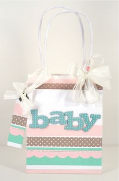 washi tape baby gift bag  http:wishywashi.com for the tape!