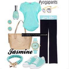 This is a disneybound outfit for jasmine from aladdin. I love yoga pants outfits. Made with polyvore.