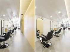 Narrow Elongated Hairdresser Interior Space Ideas - Home Interior Design Ideas Hair Salon Interior, Salon Interior Design, Sao Paulo Brazil, Retail Store Design, Hair Shop, Barbershop, Visual Merchandising, Hairdresser, Furniture Design