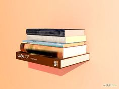 How to Create Invisible Shelves // All you need is a sacrificial book and an L-bracket