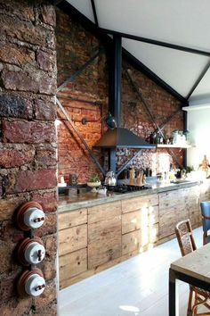 Brick wall - 55 ideas on how to upgrade the modern kitchen - brick wall in the kitchen and wooden kitchen cabinets and white floor - Loft Kitchen, Rustic Kitchen, Rustic Farmhouse, Kitchen Modern, Kitchen Brick, Wooden Kitchen, Kitchen Ideas, Masculine Kitchen, Kitchen Pictures