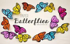 DIY : Paper Butterflies. Try with velum or plastic bottles.JH