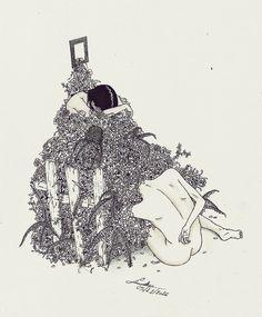 """Asymmetrical"" by Linniker F. de Oliveira #linniker #art #illustration #drawing #ink #flowers #plants #sad #love #agnesobel #ghost #depression"