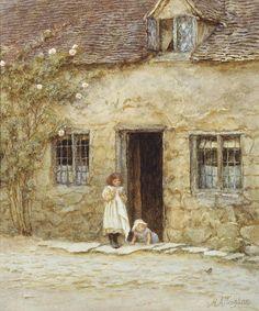 """At The Cottage Door"" by Helen Allingham"