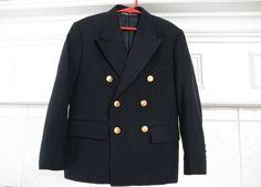Ralph Lauren Boys Navy Sport Coat Jacket Size 8 by ThePoshBabyShoppe on Etsy Military double breasted jacket