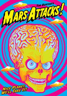 MARS ATTACK 1996 by Tim Burton   - artistic movie poster