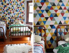 diy French wallpaper. Great for a kids room. #home #bedroom #kidsroom