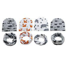 1set  Hat+ Scarf  2017 New Pattern Children Accessories Baby Head Cap Children's Hat Baby Cartoon Hat TRQ1078