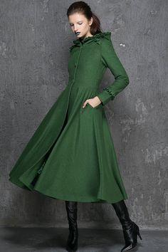 Womens Coats, Winter Coat, Emerald Green coat,fit and flare coat, Long coat, Hooded coat, trench coat, wool coat, trench coat, gift   (1345) by xiaolizi on Etsy https://www.etsy.com/listing/244621954/womens-coats-winter-coat-emerald-green