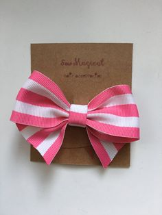 $2.50 Pink & White Stripped Bow by SewMagicalByAndrea on Etsy