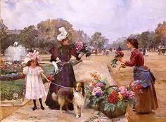 Walking The Dog Through The Flower Market. . . . .