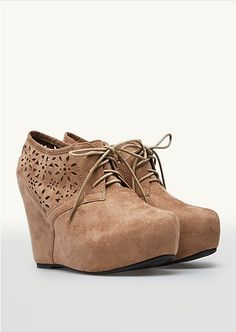 can't wait for these cutout flower wedge booties to come to me so i can wear them with everything! :)
