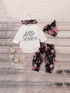 898bf6b379d7a Sherita's Shoppe©️Children's wear · Toddler Girls Letter Print Jumpsuit &  Pants & Hat & Headband Toddler Jumpsuit, Toddler Girl