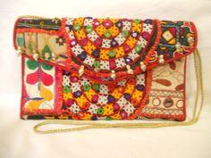 Stylish gypsy bag Indian Tribal Banjara Boho fabric clutch Gypsy clutch by ArtMela, $45.75