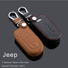 Genuine Leather Car Keychain Key Fob Case Cover for Jeep 2014 Cherokee Grand Cherokee Wrangler Compass Patriot Smart Key Holder♦️ SMS - F A S H I O N 💢👉🏿 http://www.sms.hr/products/genuine-leather-car-keychain-key-fob-case-cover-for-jeep-2014-cherokee-grand-cherokee-wrangler-compass-patriot-smart-key-holder/ US $13.41