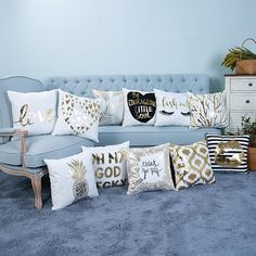 2018 Creative Pattern Super Soft Pineapple Love Letters Bronzing Silver Pillow Sets Of Cotton And Linen Car Sofa Cushions Pillow. Category: Home & Garden. Subcategory: Home Textile. Modern Throw Pillows, Sofa Throw, Soft Pillows, Cushions On Sofa, Silver Pillows, Decorative Pillow Covers, Pillow Set, Cover Pillow, Cushion Covers