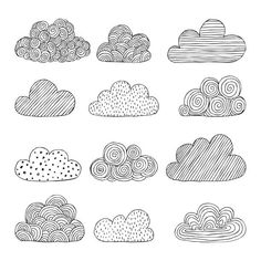 Beautiful Set Doodle Clouds Isolated Sketch Stock Vector (Royalty Free) 706651450 Beautiful set of doodle clouds. design background greeting cards and invitations to the wedding, birthday, mother s day and other seasonal autumn holidays Easy Doodle Art, Doodle Art Designs, Doodle Art Drawing, Doodle Patterns, Zentangle Patterns, Zentangles, Doodle Images, Simple Doodles, Cute Doodles