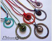 Jewellery - Beaded pendant - Pendant - Beaded necklace - Necklace - Handmade Jewelry - Disk pendant