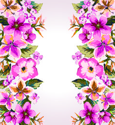 Watercolor Flowers vector 01
