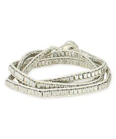 Look what I found on #zulily! White & Silvertone Braided Adjustable Bracelet #zulilyfinds