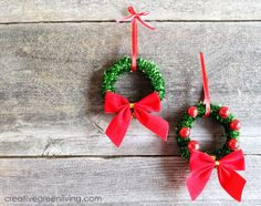 Recycled Wreath Ornaments