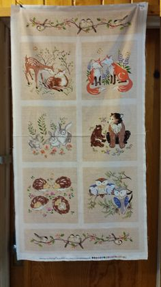 Red Rooster Forest Frolic Panel Deer Fox Bunny by patitaylor