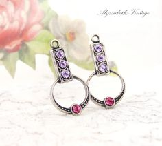 924bb416e Art Deco Violet Purple & Rose Pink Swarovski Rhinestone Earring Drops  Dangles Findings Brass or Antique Silver 21mm Long - 2. Vintage Tools ...