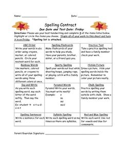 These spelling contracts will motivate your students by making spelling homework fun! Students choose 3 of the activities to complete to practice t...