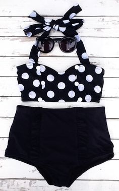 New high waist bikini black and white polka dot with by 80sVINTAGE, $45.75