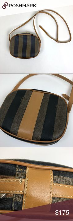 Authentic Vintage Fendi Cross body purse Rare Find Lucky me & lucky you. i have this sweet little treasure to share with you. Has a couple scuffs on the trim and needs a stick on the handle, any good leather or shoe repair person can do it. There's lots of life left in this Authentic Fendi Crossbody purse 🧡 Please feel free to ask questions and make offers. Fendi Bags Crossbody Bags