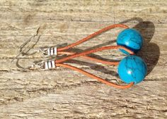Simple Light Brown Leather Dangle Earrings With by WeitzelDesign