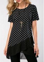 Short Sleeve Polka Dot Print Asymmetric Hem Blouse | Rosewe.com - USD $29.58