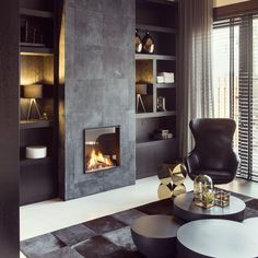 Residential interior design with a luxury / industrial combination, all custom made. Living Room Interior, Home Interior, Home Living Room, Modern Interior, Living Room Designs, Living Room Decor Elegant, Home Fireplace, Modern Fireplace, Fireplace Design