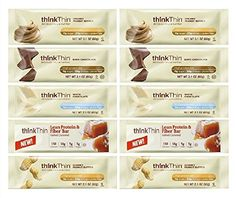 Think Thin Variety Pack 10 Mix Bars 2.1oz ea: 2 bars of White Chocolate, 2 bars of Salted Caramel, 2 bars of Chunky Peanut Butter, 2 bars of Dark Chocolate, 2 bars of Creamy Peanut Butter