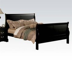 Louis Philippe III Casual Black Wood Cal King Bed