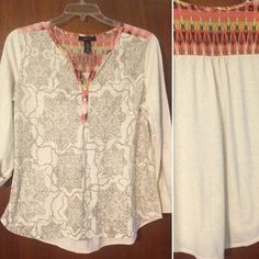Style & Co. | Top Pre-loved 58% cotton / 42% top. Worn a handful of times. In excellent condition. Optional roll-tab sleeves. Ask questions before purchasing. Trades, PayPal, Modeling, Holds Price firm at $10 Style & Co Tops