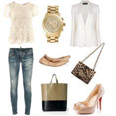 lace t-shirt, blazer, jeans - classic outfit