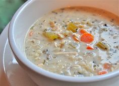 This Slow Cooker Creamy Chicken & Wild Rice Soup uses Rice-a-roni.