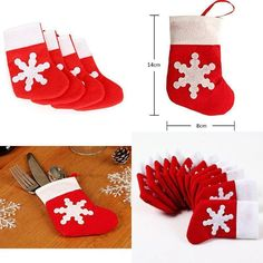 Christmas Table Decoration Socks of Cutlery Holder Pockets Festival Day Pack 12