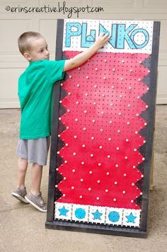 Plinko game made from pegboard - Auction or fall carnival activities