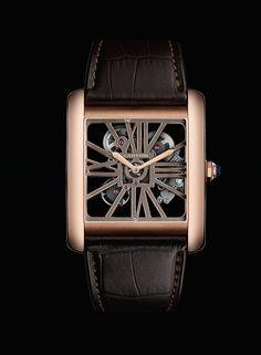 Cartier Tank MC Two-Tone Skeleton Watch Elegant Watches, Beautiful Watches, Cartier Tank Mc, Cool Watches, Watches For Men, Funny Watch, Tank Watch, Oclock, Square Watch