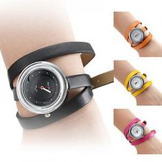 Damen Armbanduhr Quarzuhr mit langem Lederband -4 Farben
