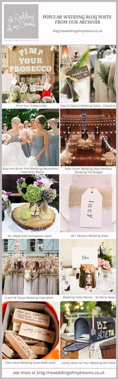 Popular Wedding Blog Posts From Our Archives Dusky Blue Wedding, Taupe Wedding, Blush Pink Weddings, Photo Guest Book, Guest Book Tree, Wedding Blog, Our Wedding, Wedding Ideas, Hessian Wedding
