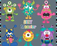 Monster Fun, Silly Monsters - Instant Download - Commercial Use Digital Clipart Elements Set